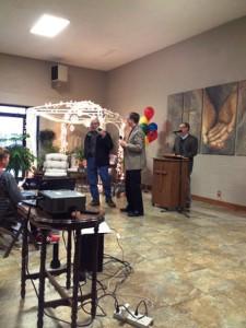 Clark accepts award